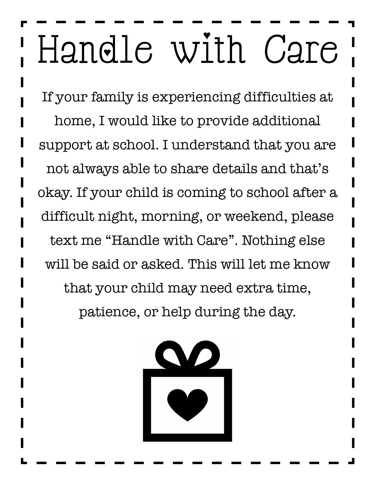 Handle with Care Text Note