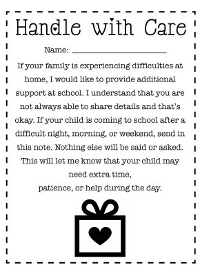 Handle with Care school note