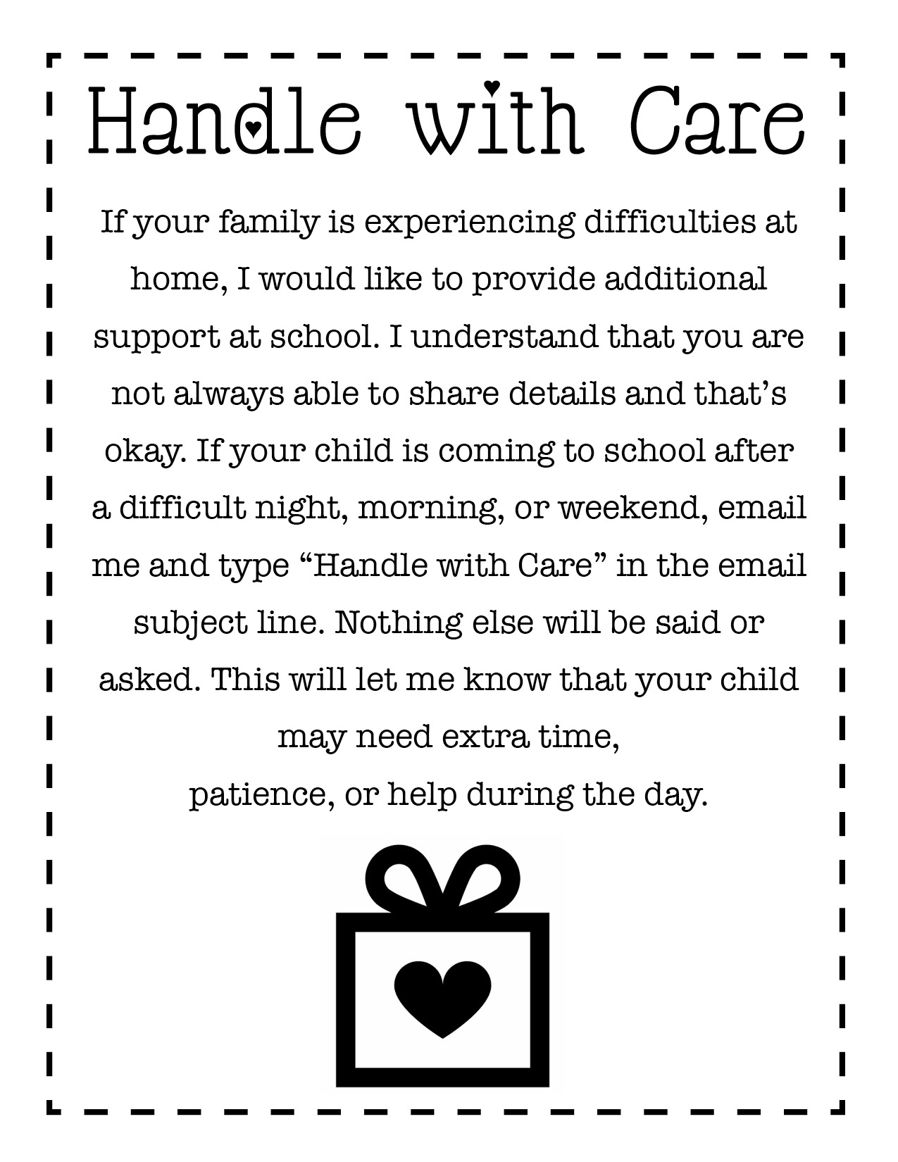 Handle with Care email note